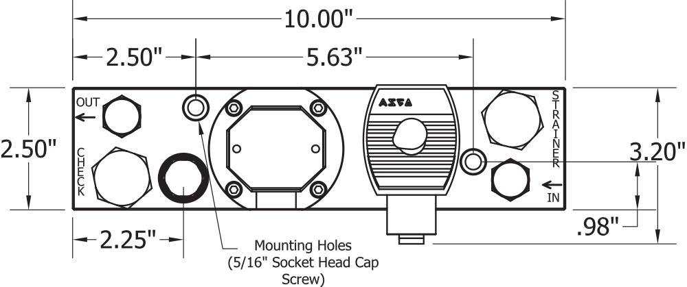 ASI Hammer Injection Block Dimensions Top